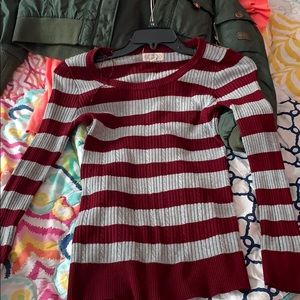 Burgundy strip sweater